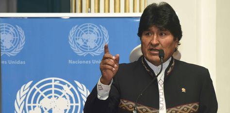 Evo Morales en el acto en la Cancillería para conmemorar el 72 aniversario de las Naciones Unidas. Foto:ABI