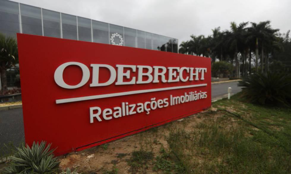 Cartel de la constructora Odebrecht, en Río de Janeiro (Brasil)