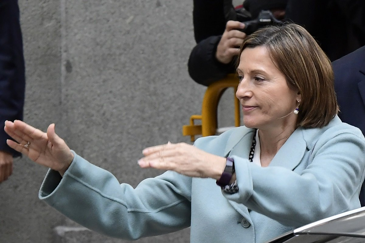 Catalan regional parliament speaker Carme Forcadell leaves the Supreme Court in Madrid on November 2, 2017 after appearing before a judge over her efforts to spearhead Catalonia