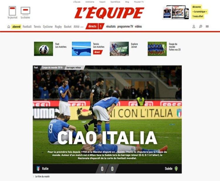 """L'Equipe, Francia, le dijo """"Ciao"""" a Italia"""
