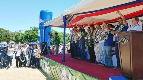 El presidente Evo Morales habló del fallo de repostulación en el inicio de la exportación de fertilizantes. Foto:Ministerio de Comunciación