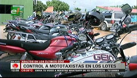 Hubo control a mototaxistas por la gran cantidad de robos registrados