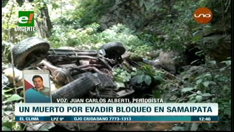 Muere conductor por esquivar un bloqueo en Samaipata