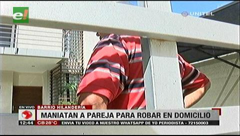 Pareja es maniatada tras sorprender a dos delincuentes dentro de su domicilio