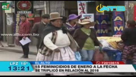 Número de feminicidios en El Alto se triplicó con relación al año pasado