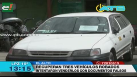 Policía recuperó 3 vehículos robados en El Alto