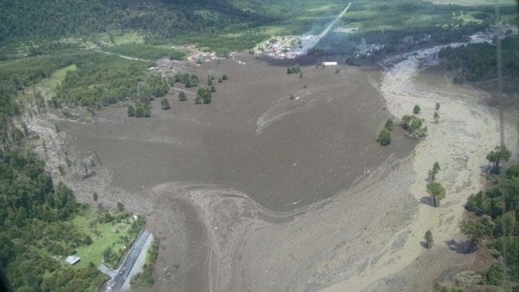 Imagen aérea del alud.