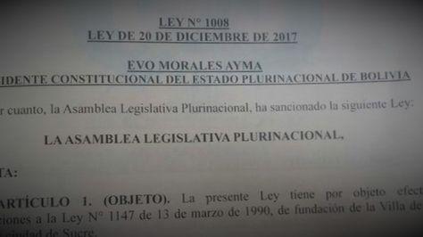 La nueva norma en la Gaceta Oficial de Bolivia.