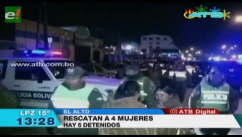 La Policía rescató en El Alto a 4 mujeres secuestradas