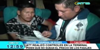 ATT realizó controles en la terminal de buses de Cochabamba