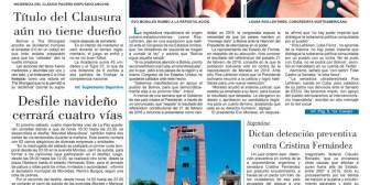 Portadas de periódicos de Bolivia del viernes 8 de diciembre de 2017