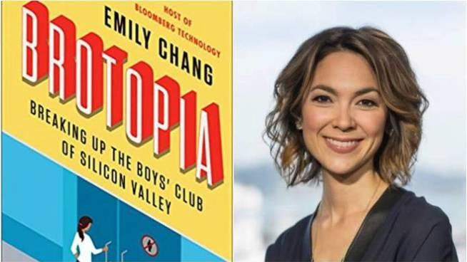 La portada del libro y la autora, Emily Chang.