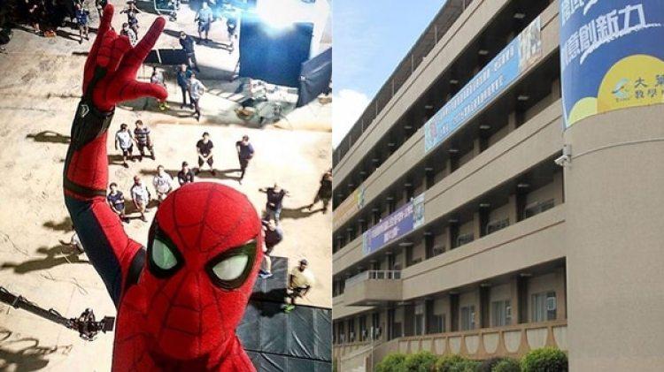 El edificio del que cayó el joven, y una selfie tomada en el set de la película Spiderman