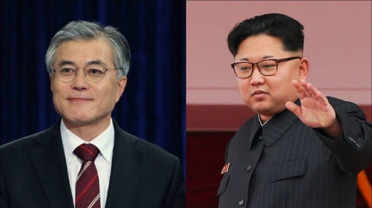 El presidente de Corea del Sur Moon Jae-in y el dictador de Corea del Norte, Kim Jong-un