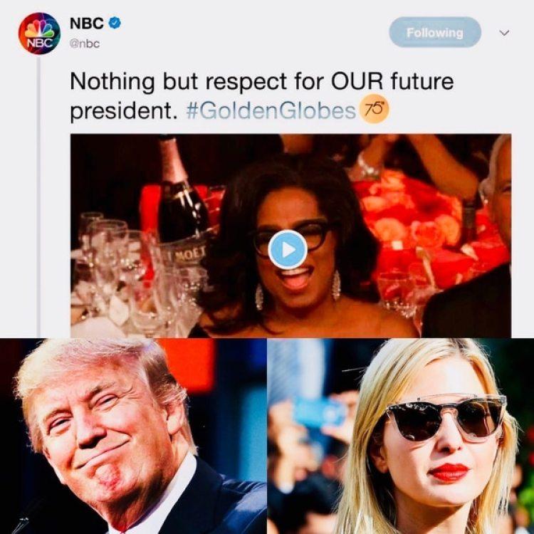 El discurso de Oprah ocasionó que la cadena NBC manifestará su apoyo a la probable candidata demócrata para 2020. El propio presidente Trump se declaró admirador de la presentadora, al igual que su hija Ivanka, quien fue criticada por apoyarla tras la entrega de premios del domingo