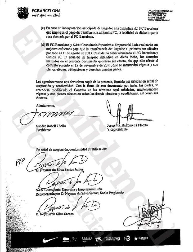 Las firmas de los dirigentes del Barcelona, Neymar y su padre (El Confidencial)