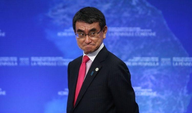El ministro de exteriores japonés Taro Kono durante el encuentro con los aliados en Vancouver,Canadá (REUTERS/Ben Nelms)