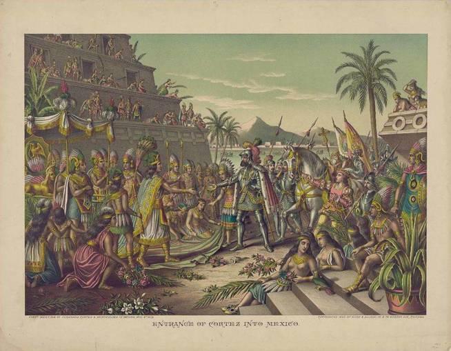Encuentro de Hernán Cortés con los aztecas. (Wikimedia Commons)