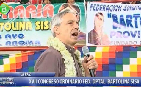 El vicepresidente Álvaro García Linera en el acto de las Bartolinas en El Alto