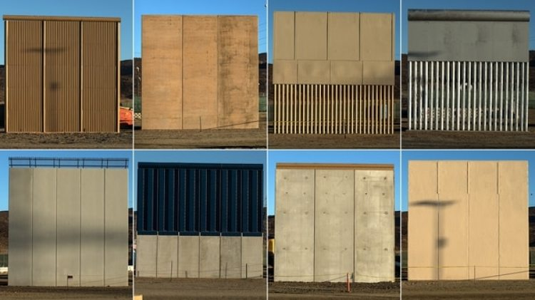 Los prototipos del muro que se presentaron hace meses (AFP)