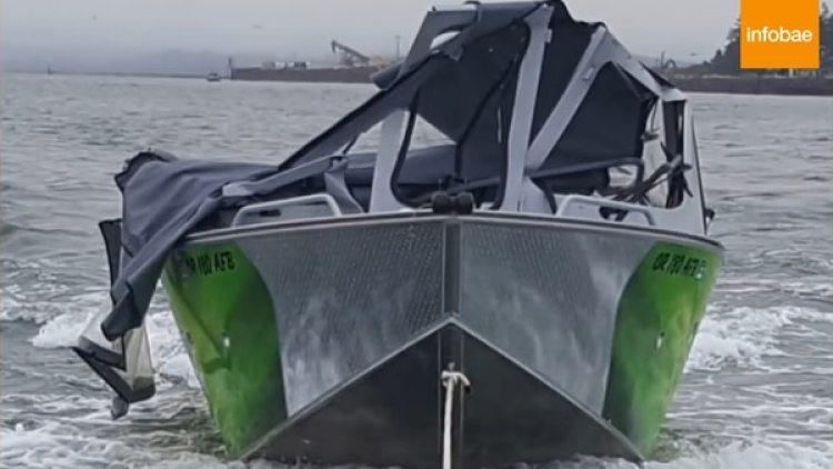 Así quedó el bote tras el choque
