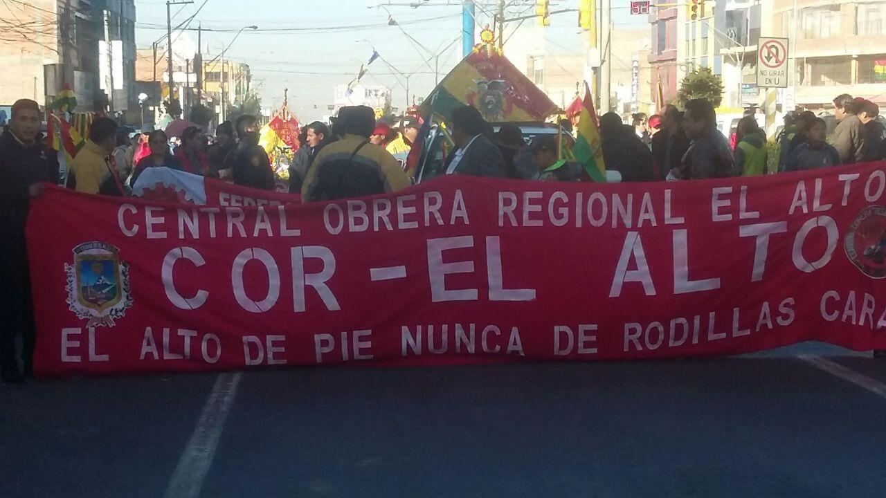 Resultado de imagen para central obrera boliviana El Alto