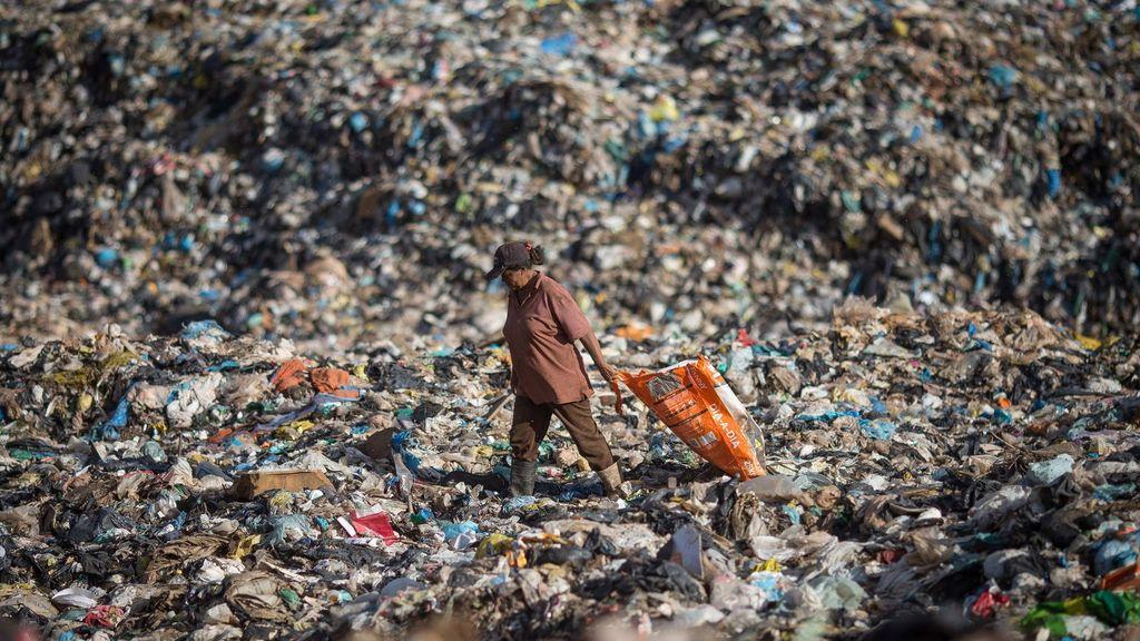 Uno de los catadores de lixo.