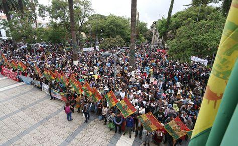 Gremialistas movilizados contra el Código Penal en Cochabamba. Foto: Kechi Flores/APG