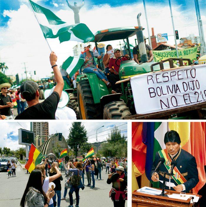 """Los sectores sociales y ciudadanos, paralelo al informe del presidente Evo Morales, se movilizaron en defensa de la democracia. En Santa Cruz con un """"tractorazo"""" y en La Paz con una marcha del """"cacerolazo"""", al igual que en otros departamentos."""