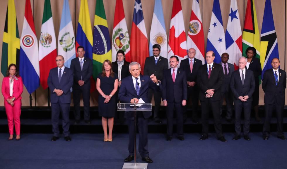 El canciller de Chile, Heraldo Muñoz, durante la declaración del Grupo de Lima.