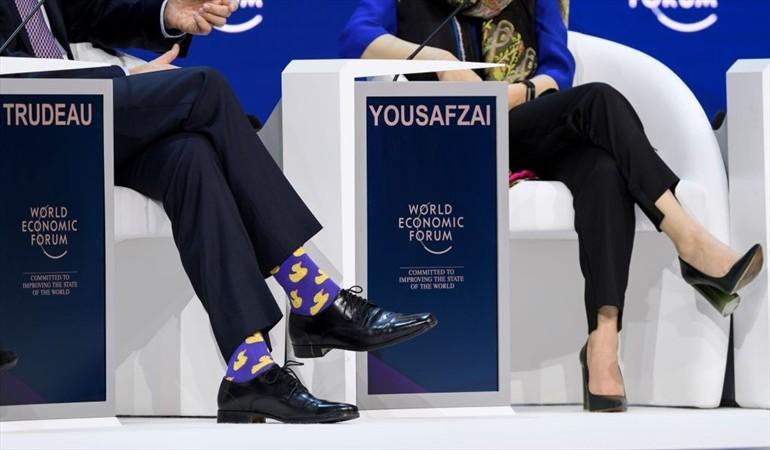 Los juguetones calcetines de Justin Trudeau en el Foro Económico Mundial en Davos