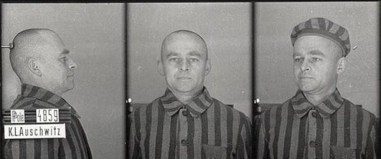 Pilecki en Auschwitz, donde ingresó con el nombre de Tomasz Serafiński (Museo Estatal de Auschwitz-Birkenau)