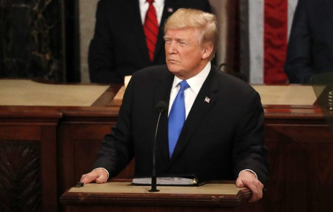 U.S. President Donald Trump pauses while delivering his State of the Union address to a joint session of the U.S. Congress on Capitol Hill in Washington, U.S. January 30, 2018. REUTERS/Leah Millis