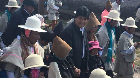 El presidente Evo Morales en la nación Uru Chipaya. Foto:Ministerio de Comunicación