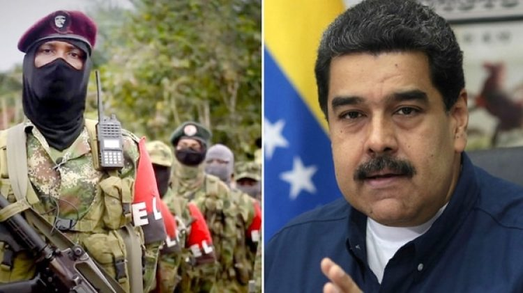 Miembros del ELN y Nicolás Maduro