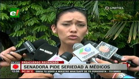 Senadora Salvatierra pide a los médicos seriedad en sus decisiones y acuerdos