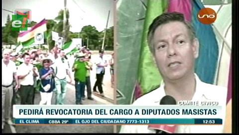 Cívicos no descartan revocatorios contra diputados masistas cruceños que no apoyaron el paro