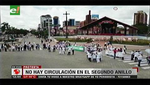 Santa Cruz: Así fue el bloqueo en el 2º anillo en rechazo al Código Penal