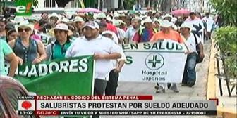 Salubristas se movilizaron exigiendo sueldos del mes de diciembre
