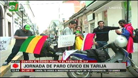 Media jornada de paro en Tarija contra el Código Penal