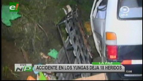 Accidente de tránsito en la carretera a los Yungas deja 18 heridos