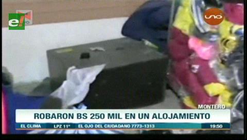 Montero: Roban Bs 250 mil de un alojamiento