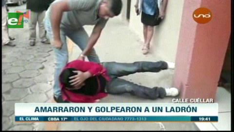 Vecinos detienen y golpean a supuesto ladrón
