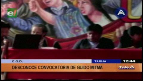 Tarija: COD no acatará el paro de 24 horas anunciado por Mitma