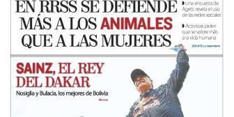 Portadas de periódicos de Bolivia del domingo 21 de enero de 2018