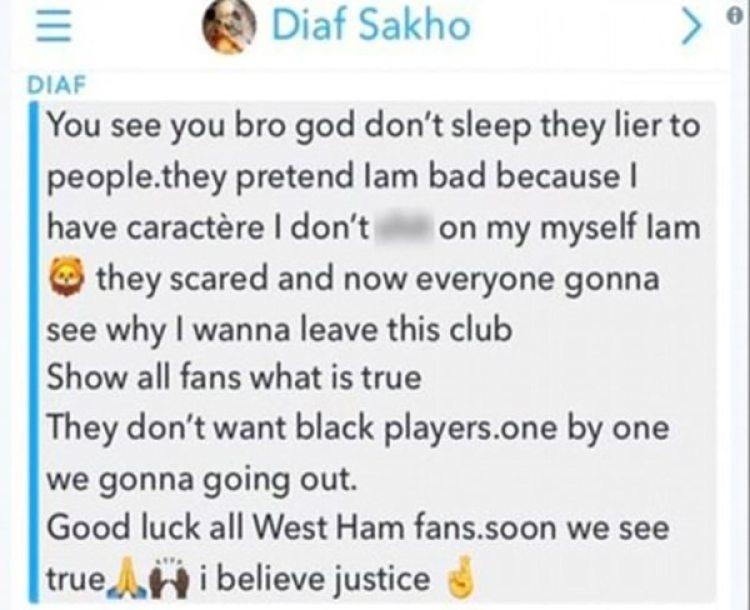 La denuncia de Diafra Sakho a través de Snapchat