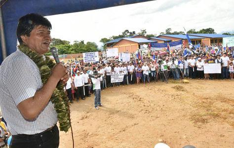 El presidente Morales durante el acto de gestión de Gobierno en Eterazama. Foto: ABI