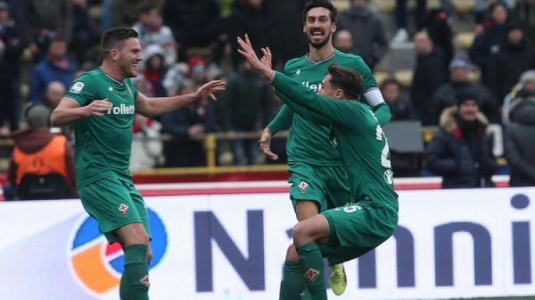 Jordan Veretout celebra el 1-0, un logro de su pegada (Giorgio Benvenuti/ANSA via AP)