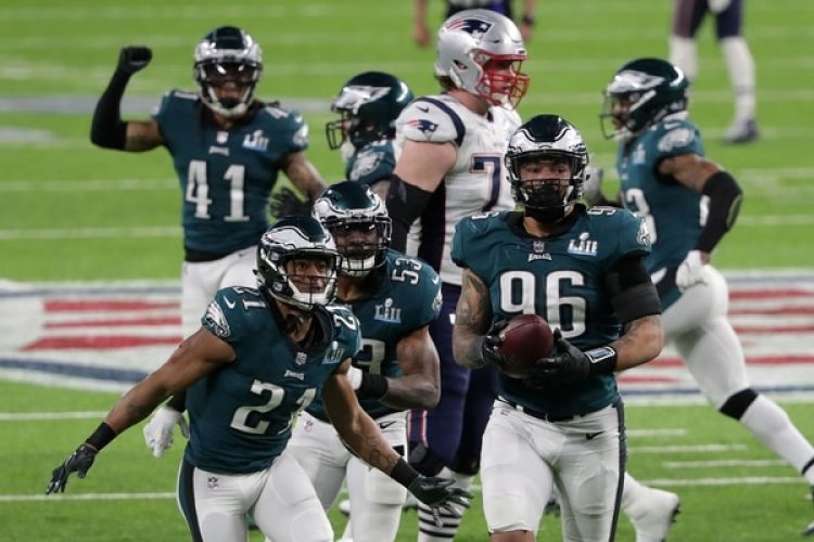 Los Philadelphia Eagles celebraron el bloqueó de Graham a Tom Brady en el Super Bowl LII