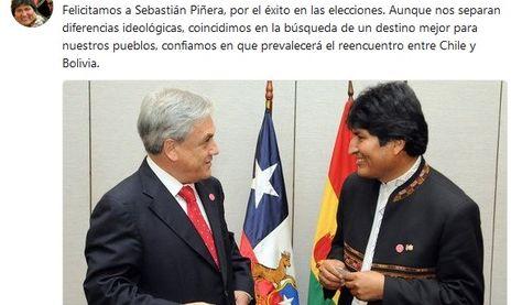 El presidente Evo Morales publicó este mensaje en su cuenta en Twitter tras conocer sobre la victoria de Sebastián Piñera en la segunda vuenta.